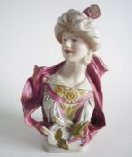 Rare Royal Dux 'Lady with Lyre' Art Nouveau Bust c1900